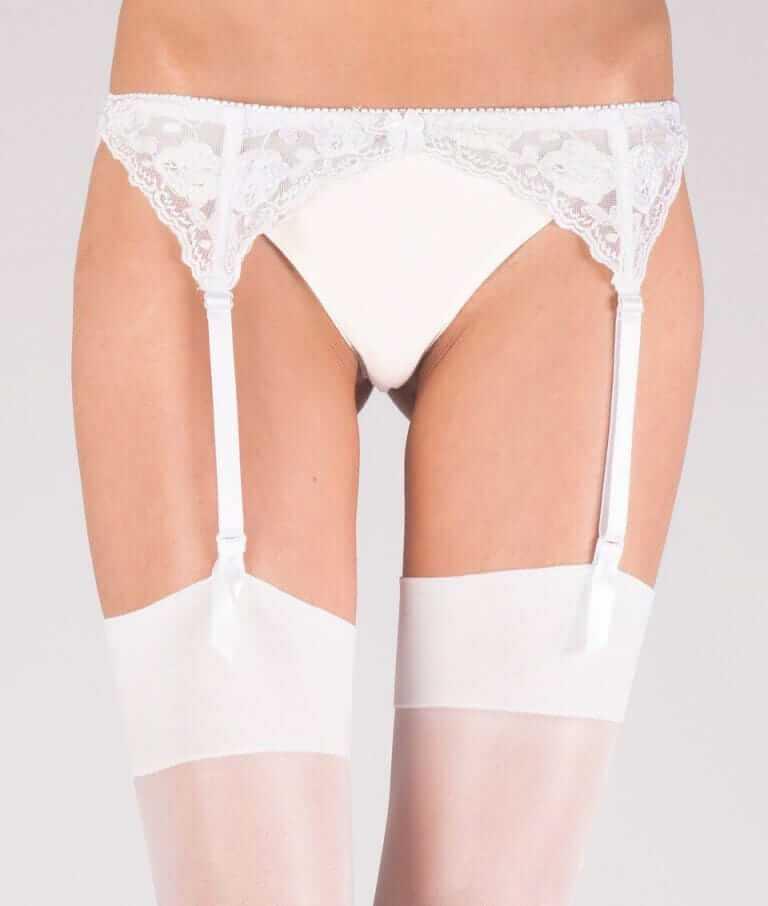 White narrow lace suspender belt
